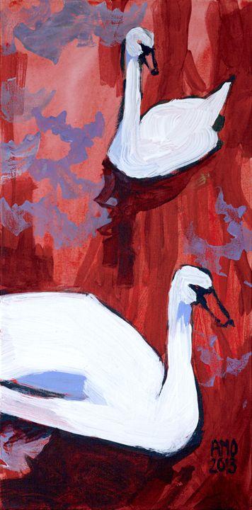 Newtonville Swans amopainting.wordpress.com