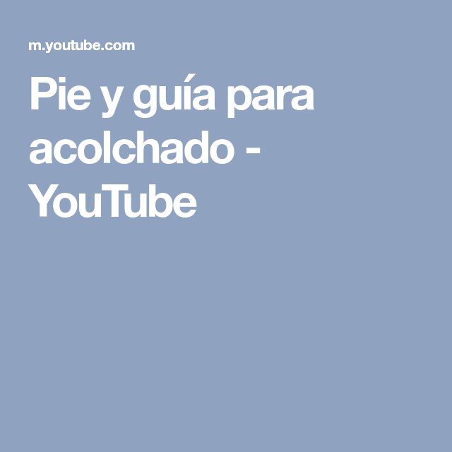 Pie y guía para acolchado - YouTube