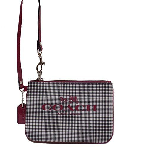 Coach Peyton Glen Plaid Print Coated Canvas Leather Phone Wristlet Pouch