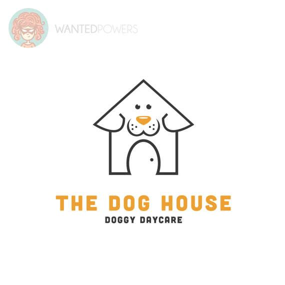 Cute Illustrated Dog Logo With A Smiling Dog Combined With A Loving Home Perfect For Your Pet Related Business Dog Dog Logo Design Pet Sitters Animal Logo