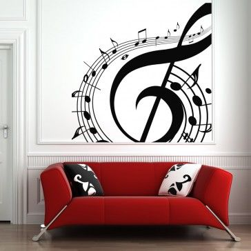 Music Notes Swirl Wall Art Sticker Wall Art Decals   Musical Notes   Music Part 53