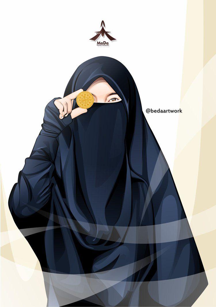 Gambar Kartun Muslimah Bercadar Pakaian Syar\u002639;i  Islam  Pinterest  Anime, People illustrations