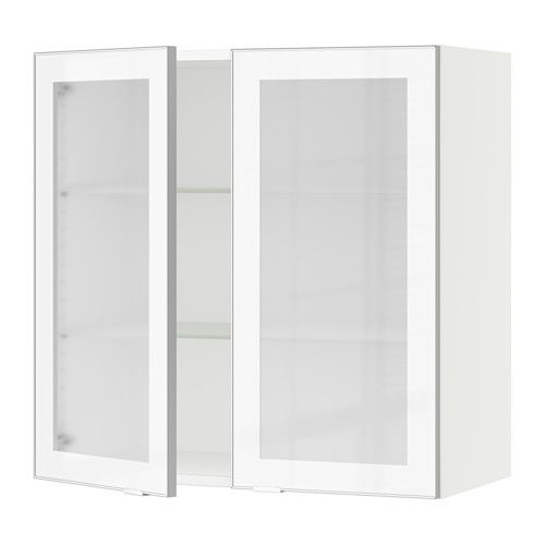 SEKTION Wall cabinet with 2 glass doors, brown, Ekestad brown ...