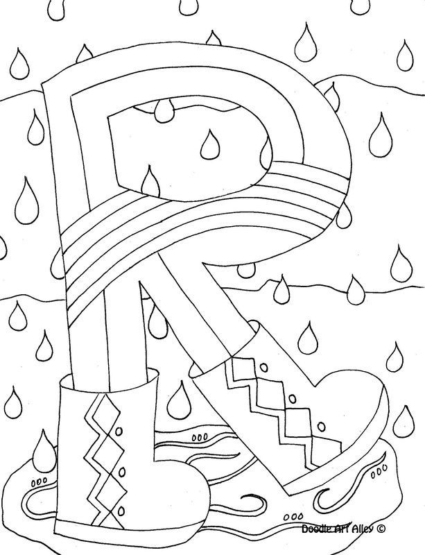 Alphabet coloring page from DoodleArt Alley. Lots of fun