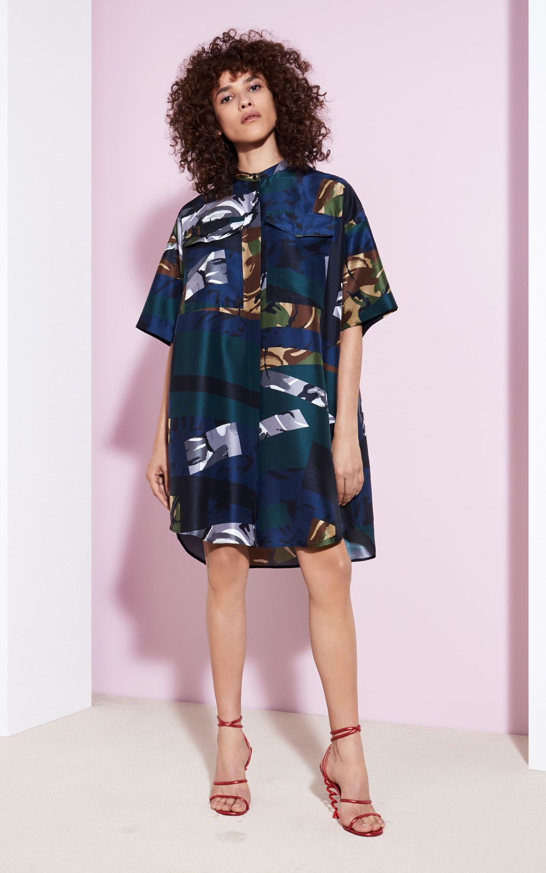 Broken Camo 39 Silk Dress For Kenzo Kenzo Com Dresses Silky Robe Kenzo Clothing