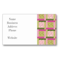 Pretty Pink Green Patchwork Squares Quilt Pattern Business Cards | Pretty Business Cards