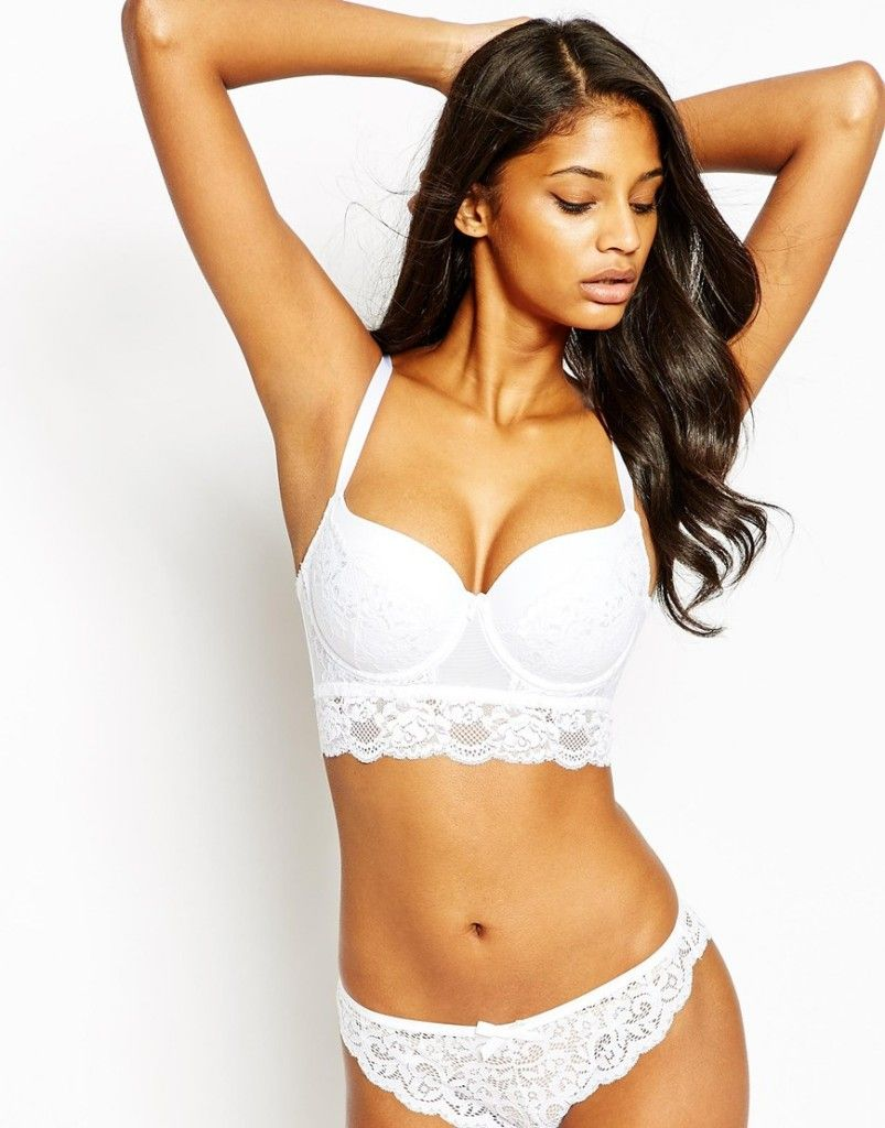 New Look DD-G Lace Panel Longline Bra | White innocence | Pinterest ...