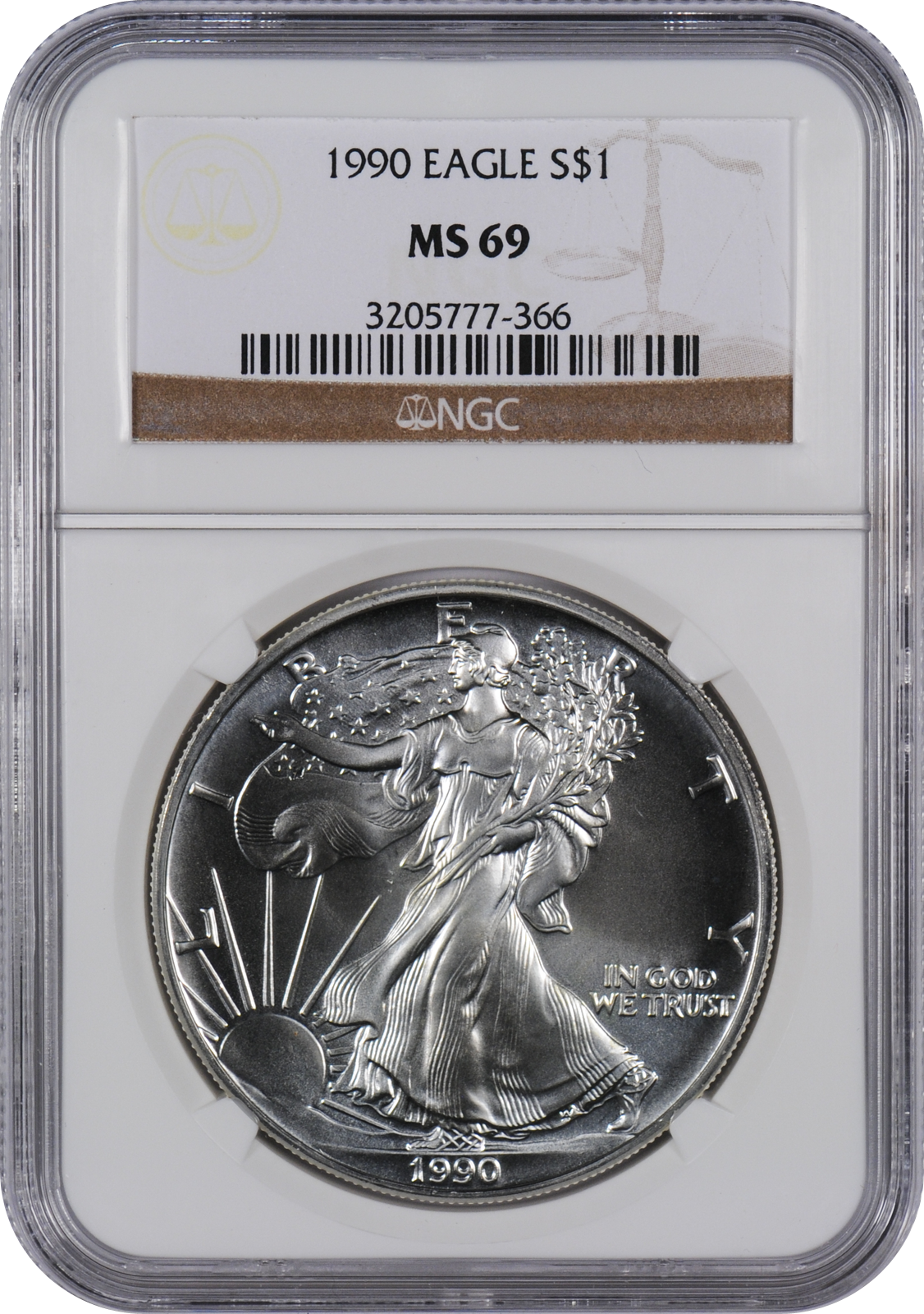 This 1990 Silver Eagle Ms69 Is A Popular Coin For Investors And Collectors Alike This Coin Has A Face Value Of One Us Dollar Eac Eagle Coin Half Dollar Coin