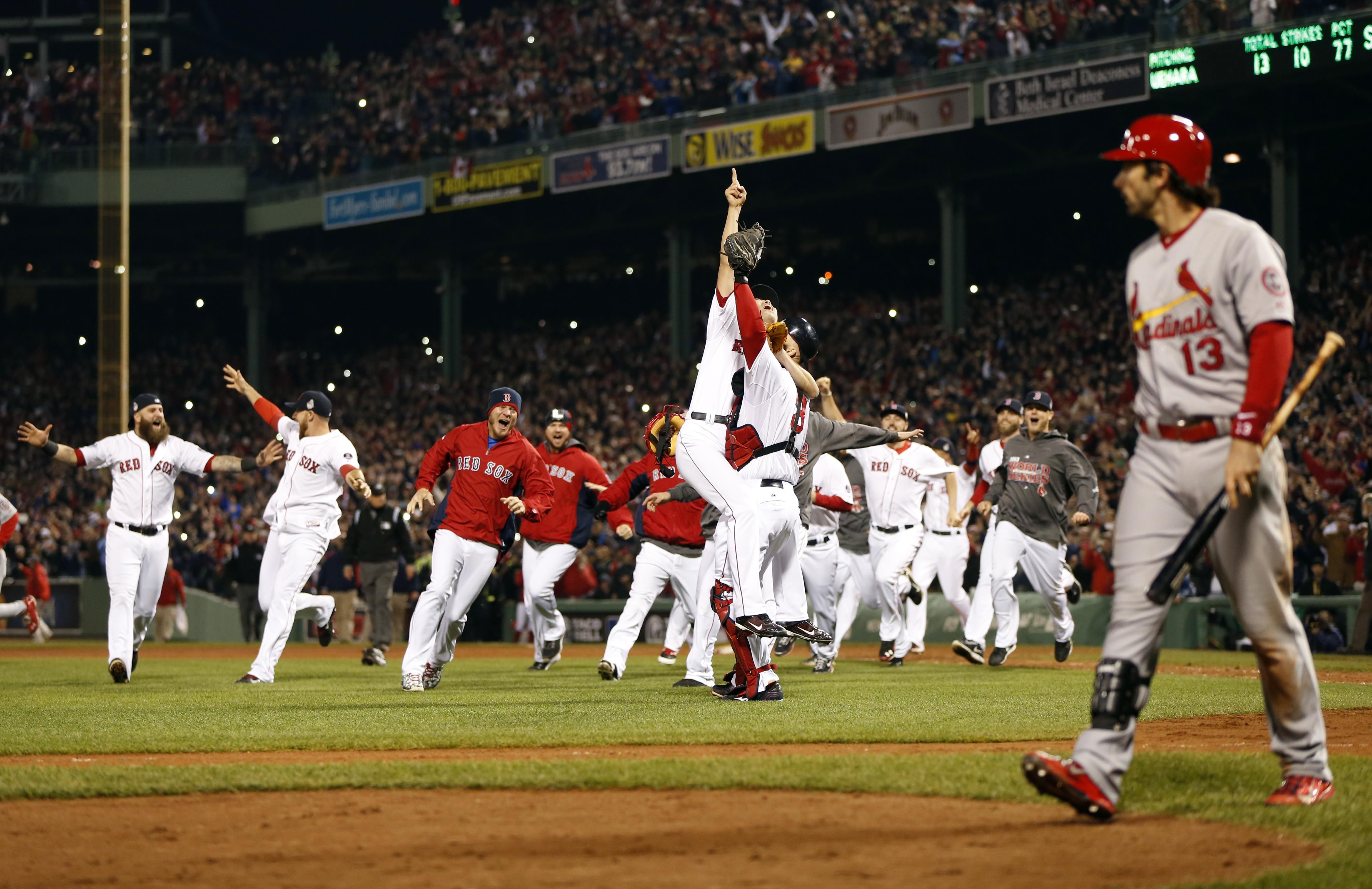 Crowdcam Hot Shot Boston Red Sox Relief Pitcher Koji Uehara Reacts With Catcher David Ross And Teammates After De Baseball World Series Boston Red Sox Red Sox