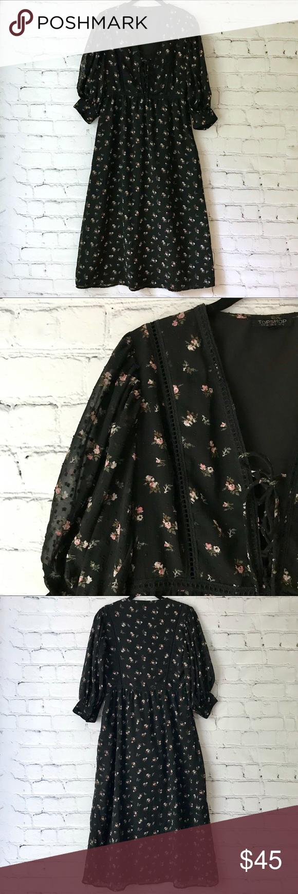 Topshop Lattice Flower Midi Dress Dot Lace Up Blck Flower Midi Dress Top Shop Dress Midi Dress [ 1740 x 580 Pixel ]
