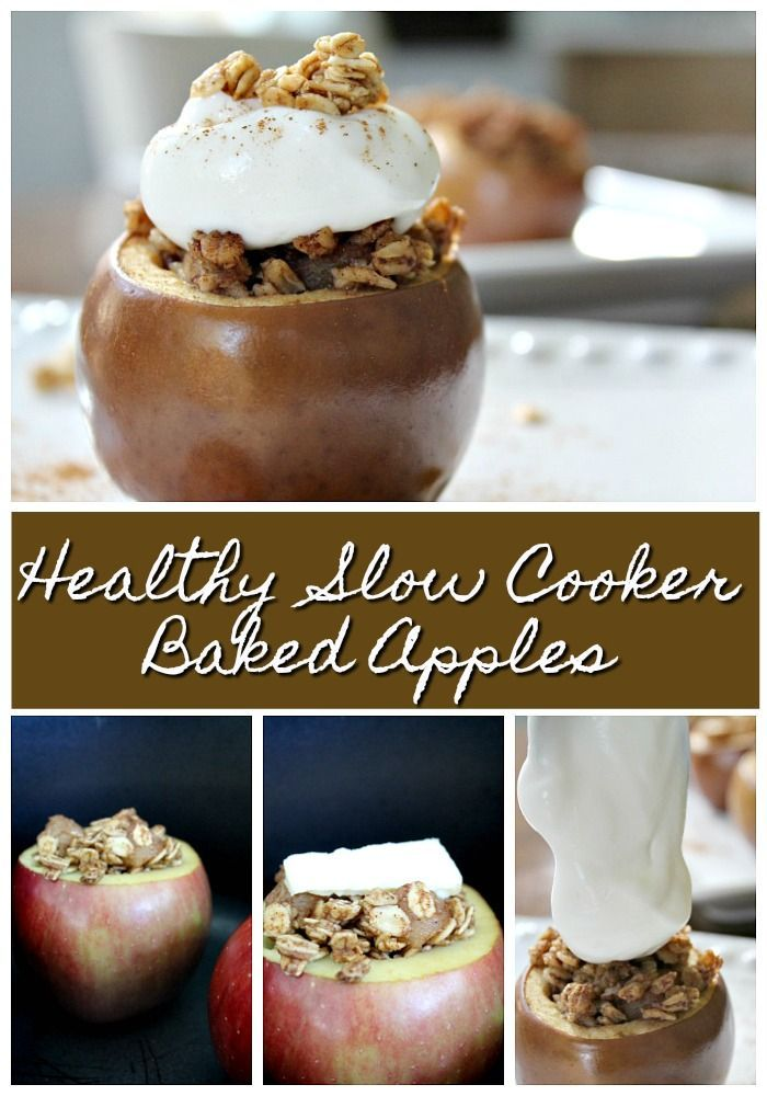 Healthy Slow Cooker Baked Apples - Perfect Fall Breakfast Or Dessert images