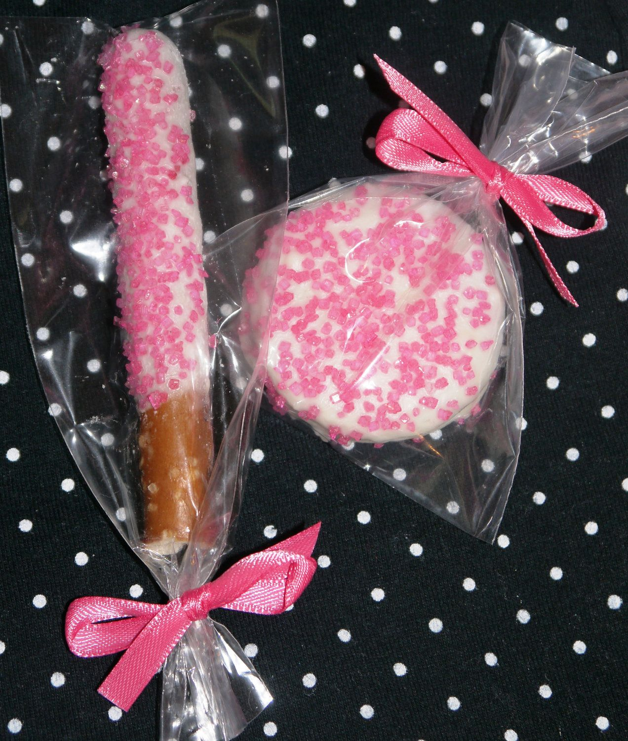 Hot Pink White Chocolate Covered Oreo and Pretzel Rod Edible Wedding ...