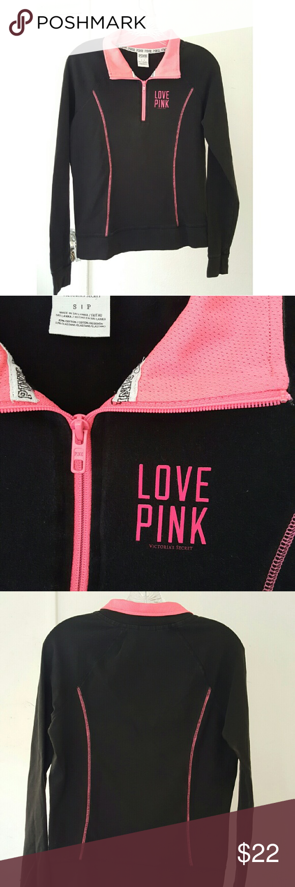 Pink half zip pullover Black and hot pink half zip pullover. Stretchy material. Fitted. Athletic wear.  Victoria's Secret PINK No trades! PINK Victoria's Secret Tops Sweatshirts & Hoodies