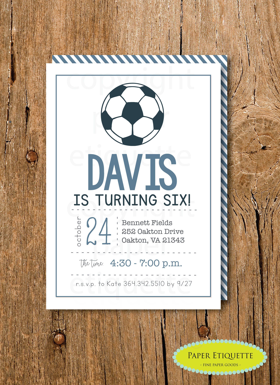 Soccer Birthday Invitation - Pink or Blue Soccer Invitation - Soccer ...