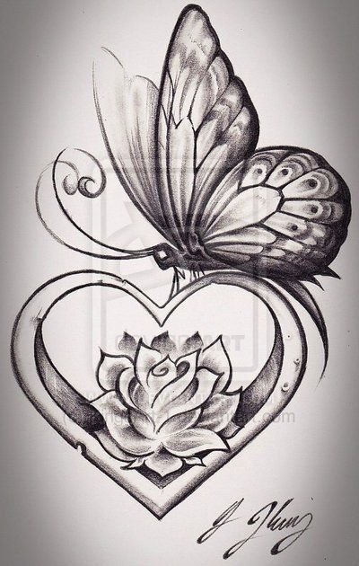 ddaf376e738aa Butterfly Heart by *KingsArt-1 on deviantART . love the shading and shape of