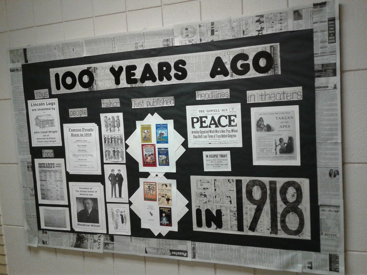 100th Day Of School Bulletin Board 100 Years Ago In 1918 Newspaper High School Bulletin Boards History Classroom Decorations School Bulletin Boards