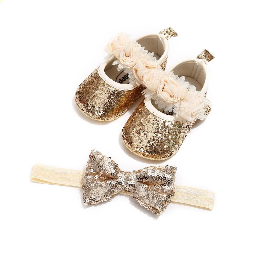 Infantile Bébé Chaussures Pour Fille Bling Princesse Fleur En Cuir Princesse Bling 075422