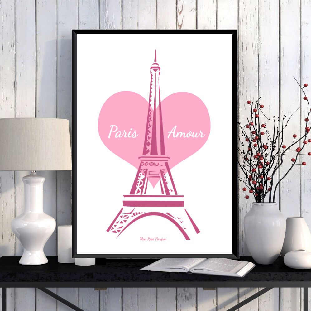 Illustration paris amour tour eiffel affiche imprimer citation d coration murale coeur for Poster decoration murale