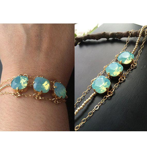 1afb7c0691f Mint Opal Beaded Bracelet Swarovski Crystal by bySarahJohanna ...