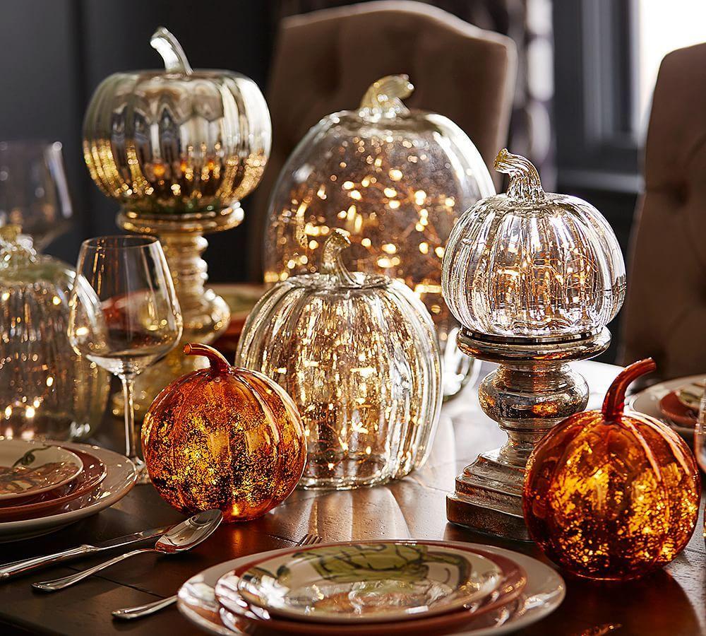 20+ Elegant Halloween Decorating Ideas | Glass pumpkins, Glass and ...