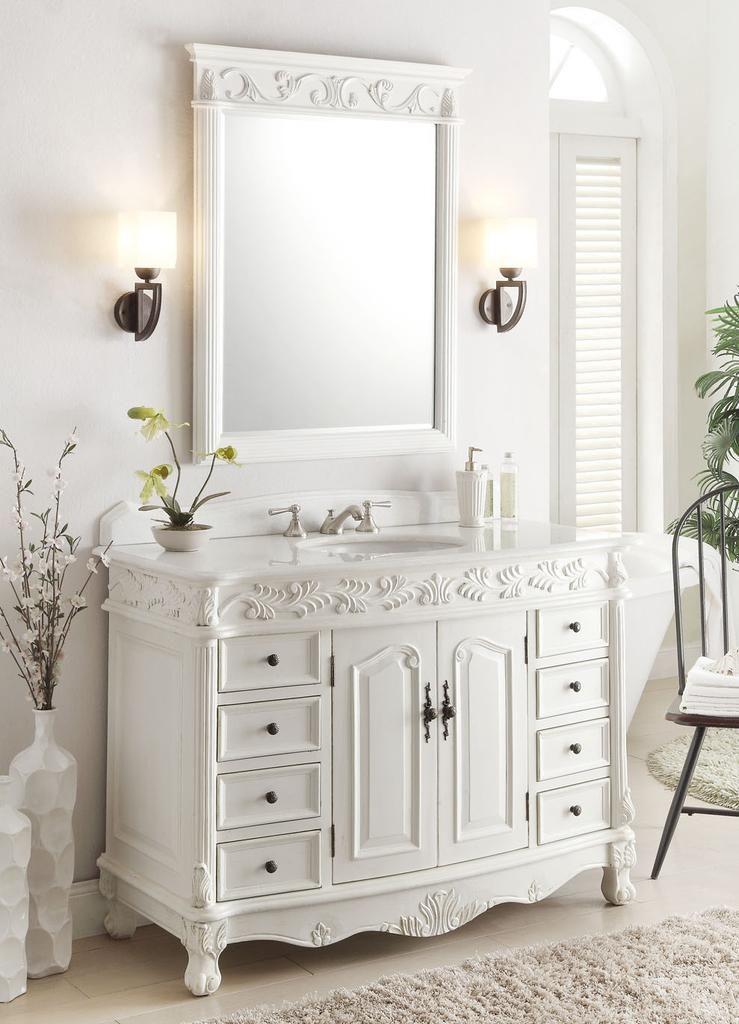 diy distressed bathroom vanity%0A Antique White Florence Bathroom Sink Vanity  u     Mirror Set model    Dimensions     x    x This enhancing Florence bathroom vanity sink chest  features fine hand