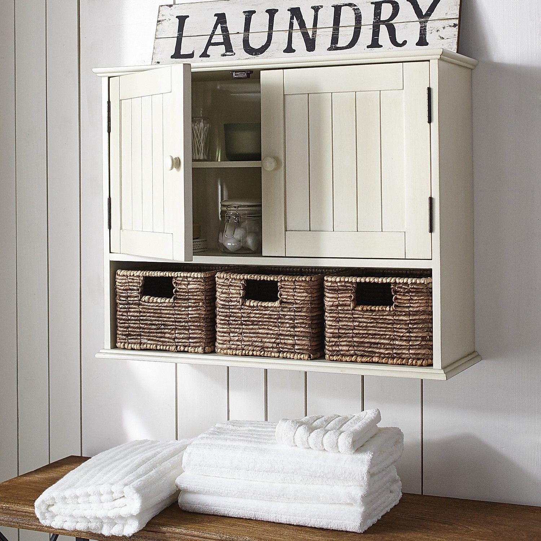 Holtom Antique White 3-Drawer Wall Storage | Home Decor | Pinterest