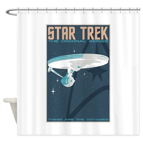 Retro Star Trek Tos Poster Shower Curtain On Cafepress Com Retro
