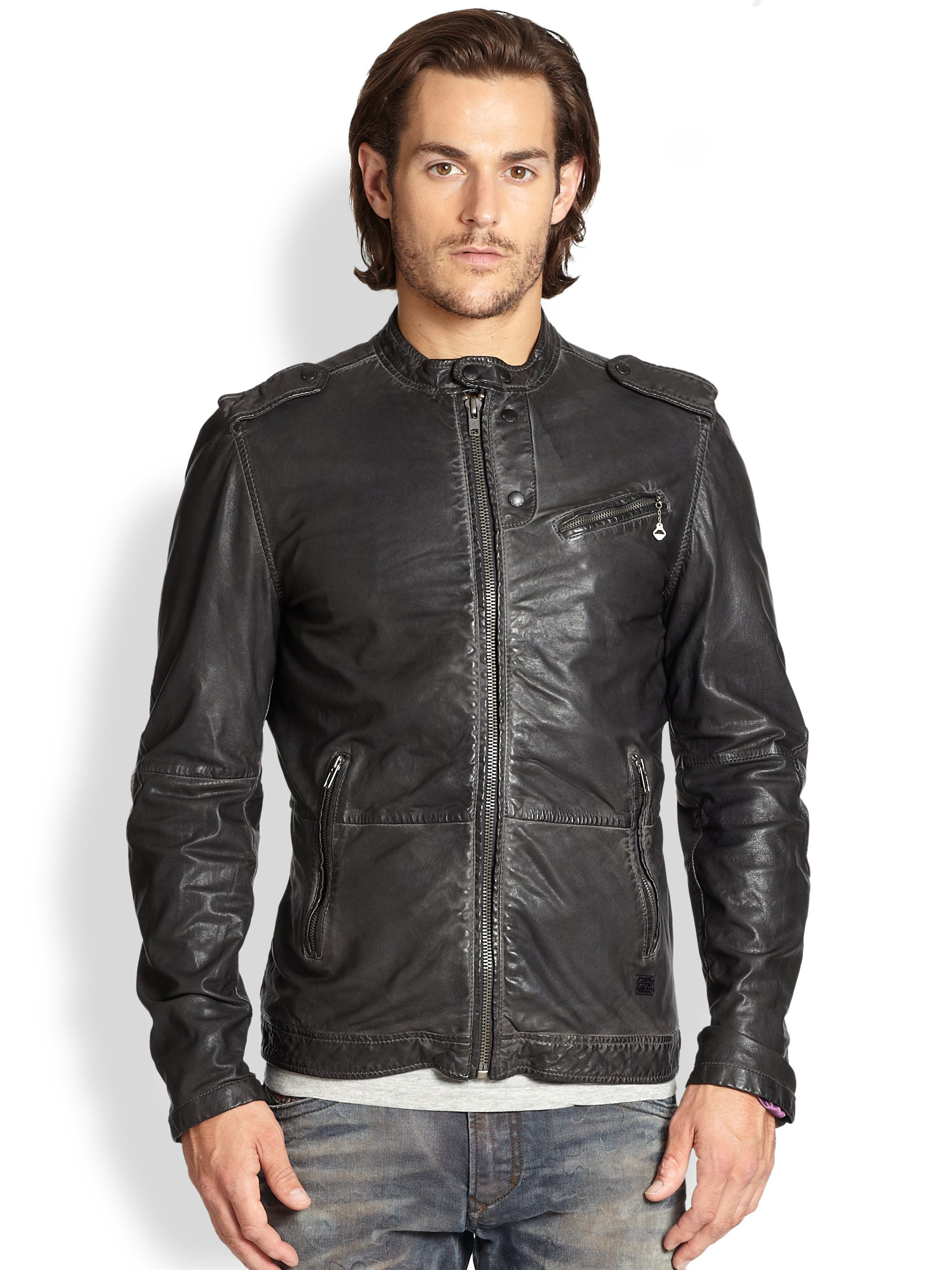 Diesel Leprandis Leather Biker Jacket in Black for Men