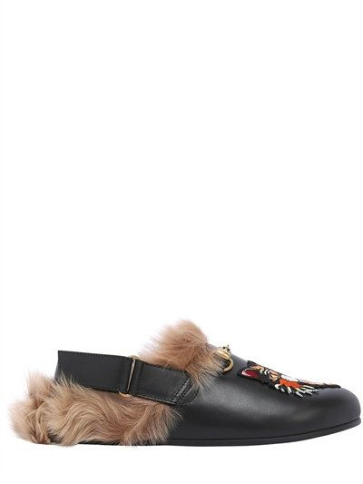 839f316ad GUCCI River Cat Patch Leather Mules W/ Fur, Black. #gucci #shoes #loafers
