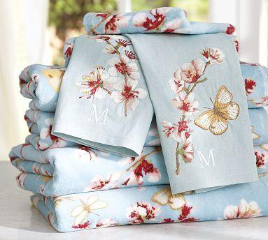 Cherry Blossom Organic Bath Towels #potterybarn