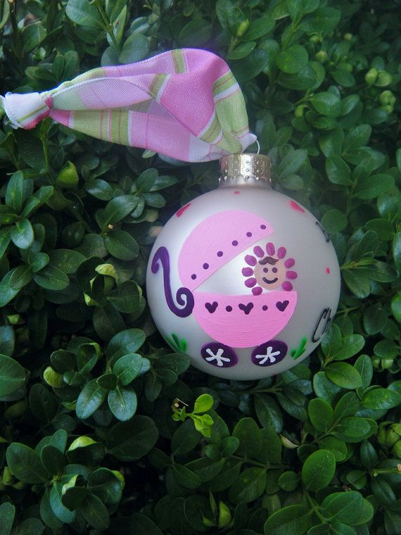 Newborn girl personalized baby gift babys 1st ornaments items similar to newborn girl personalized baby gift babys christmas hand painted glass ornament baby shower gift new baby christmas bauble on etsy negle Image collections