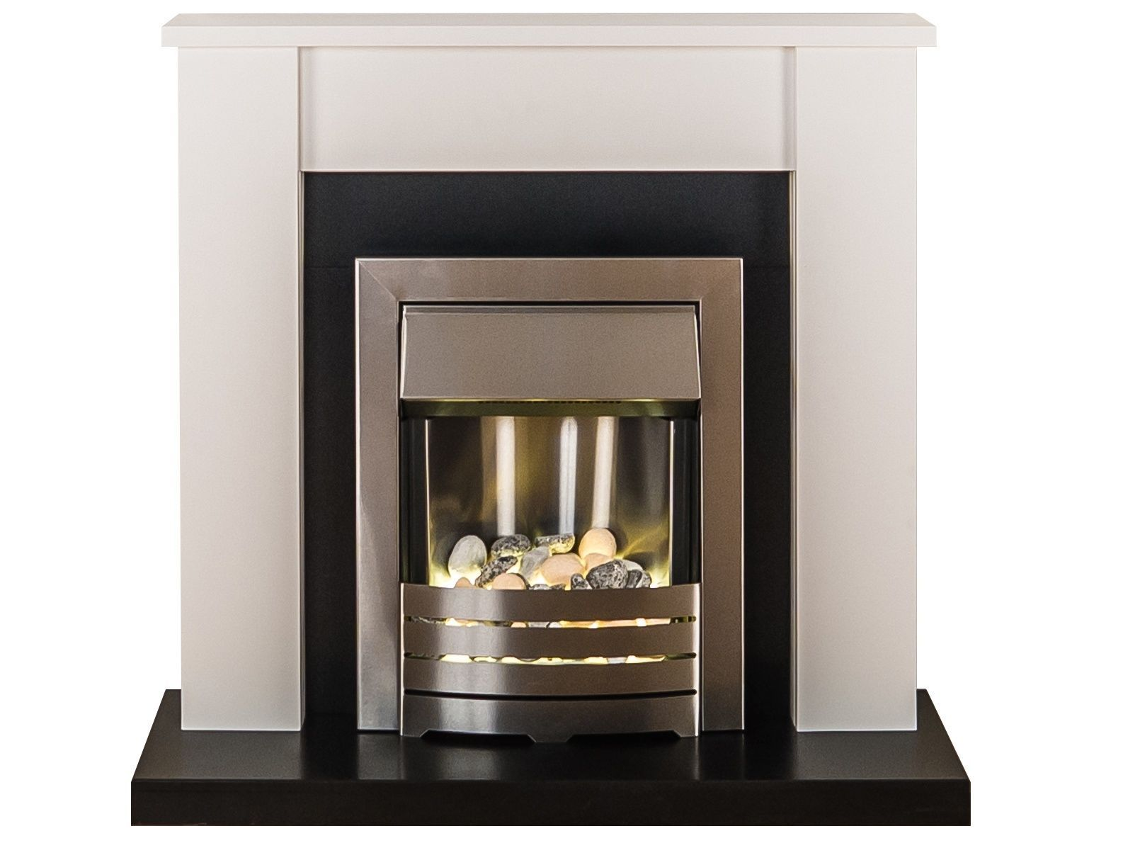 Adam fireplace suite in black and pure white with electric fire in