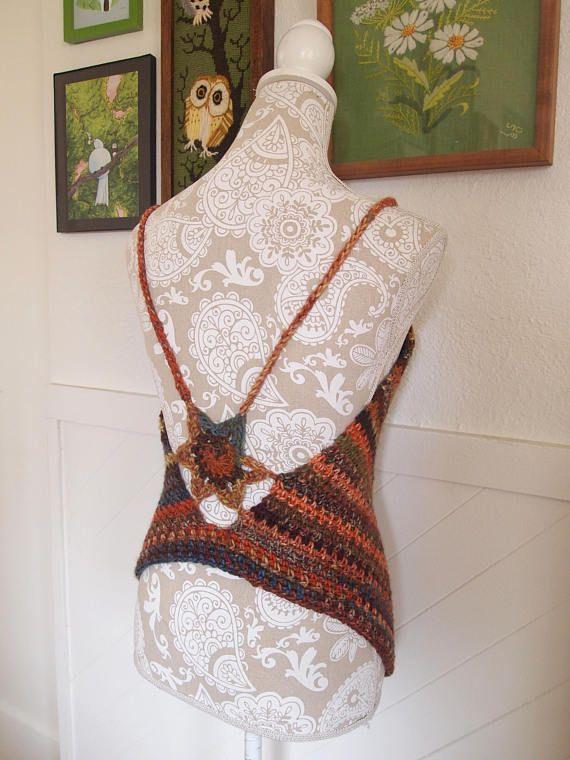 Earth in bloom crocheted tank top, flower top, festival, summer ...