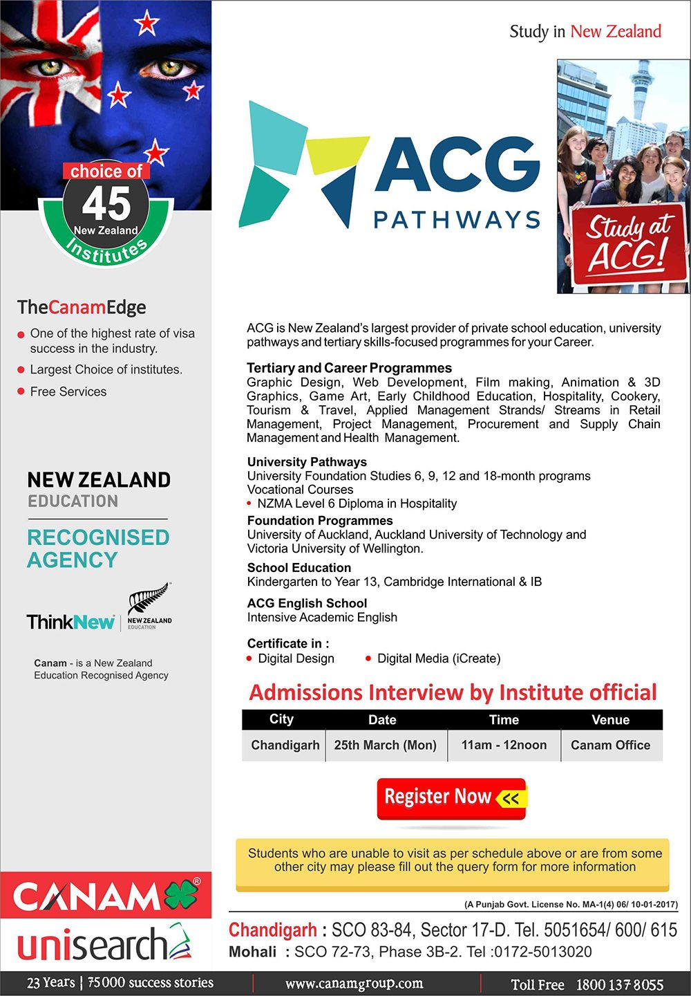 Study In Academic Colleges Group New Zealand Canam Consultants