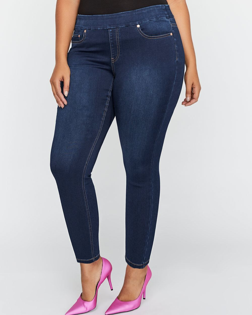 The tall pullon jegging from love u legend in a dark wash features