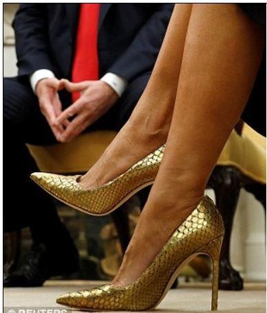 FLOTUS Melania Trump wearing gold snake skin heels, White House, Australian  visitors. Feb