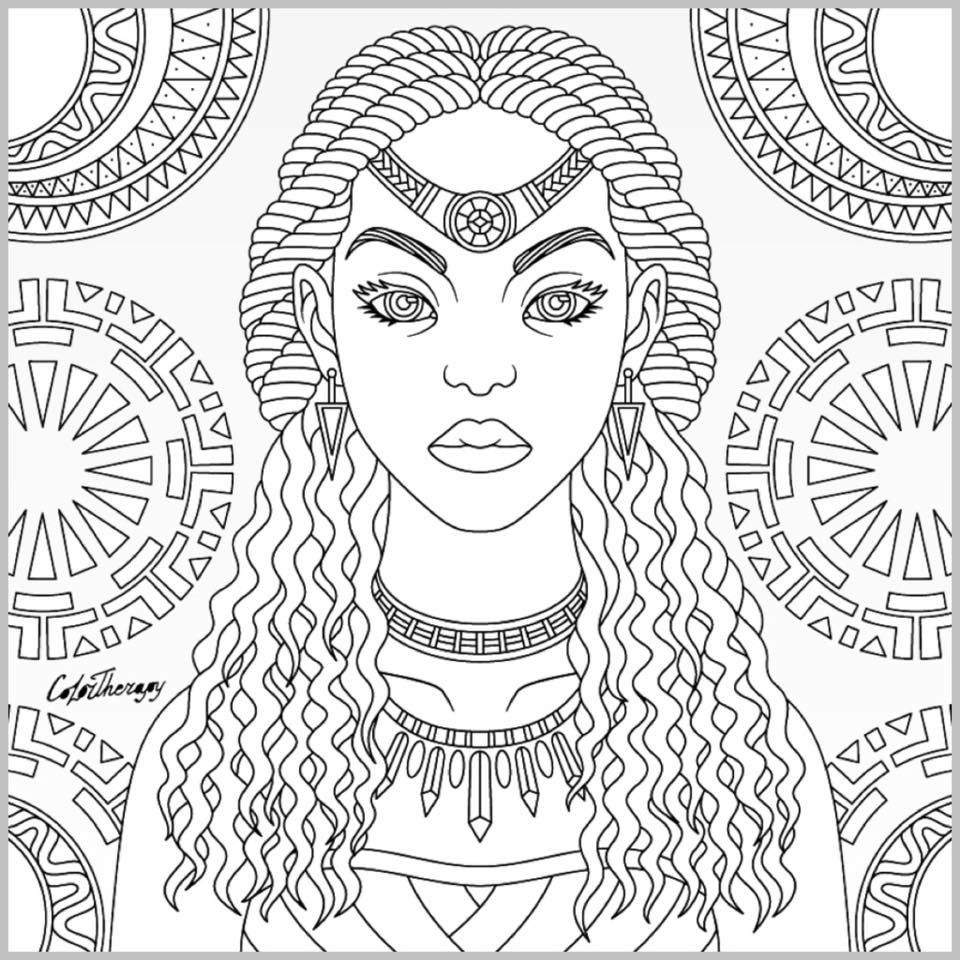 Tribal Queen Coloring Page Color Therapy App Coloring Book Art Coloring Books Coloring Pages