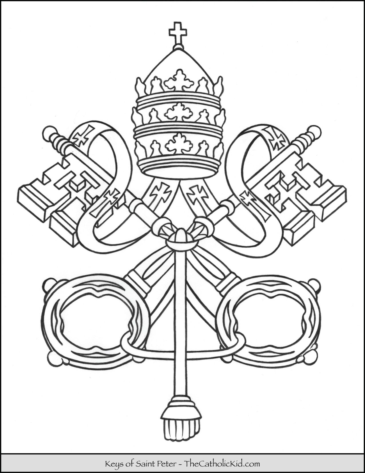 Keys Of Saint Peter Coloring Page Thecatholickid Com Catholic