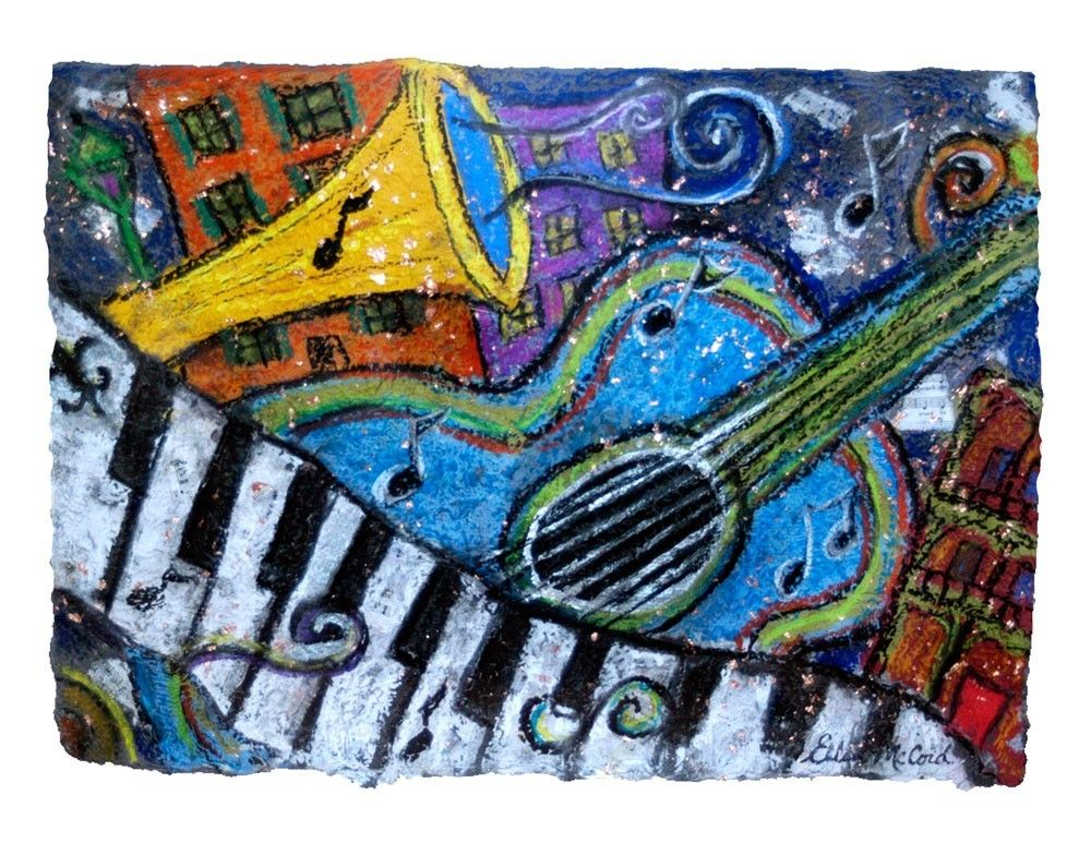 Blue guitar new orleans jazz and blues jazz painting