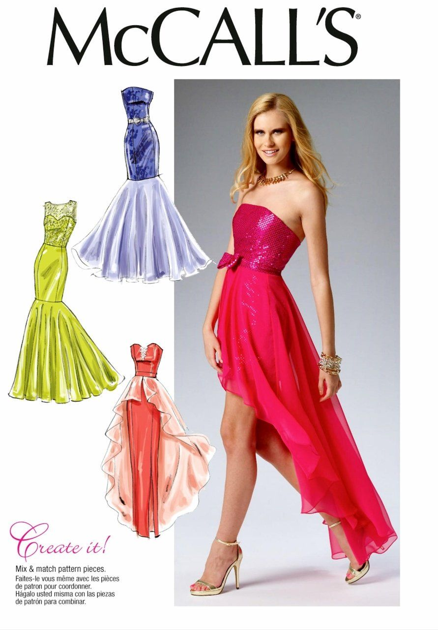 Sewing Pattern Strapless Evening Gown Pattern High Low Formal Formal Dress Patterns Evening Gown Pattern Gown Pattern