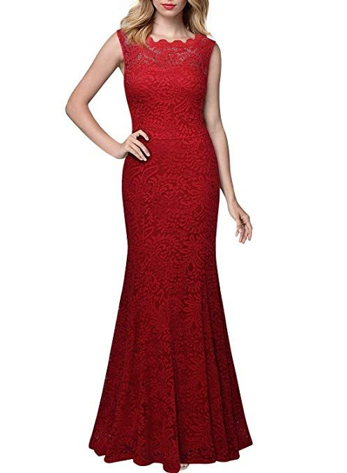 87411dc78d82a Miusol Women's Retro Flare Lace Split Side Evening Black Maxi Dress Red.