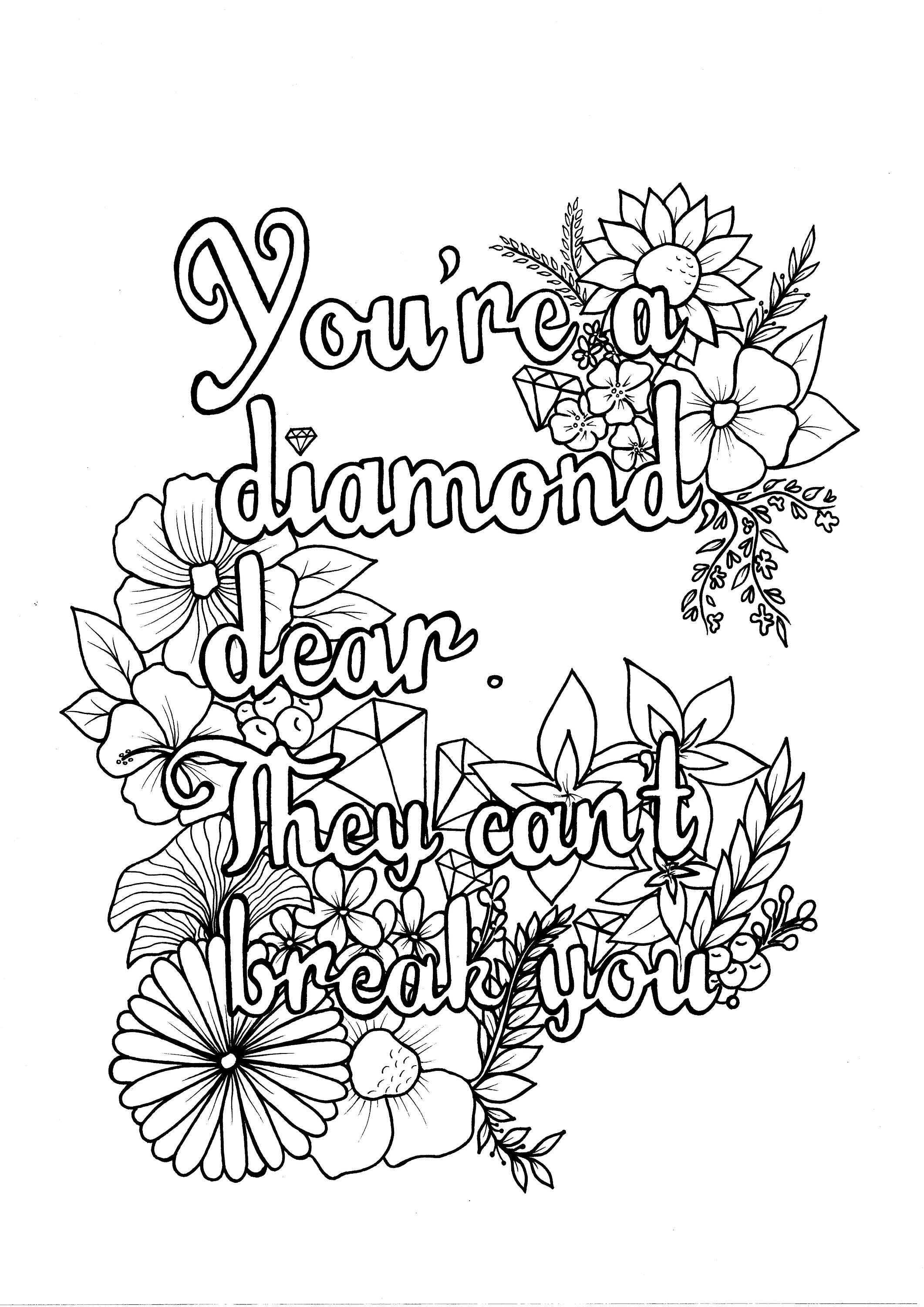 Lettering You're a Diamond PDF Coloring Page Etsy Mom