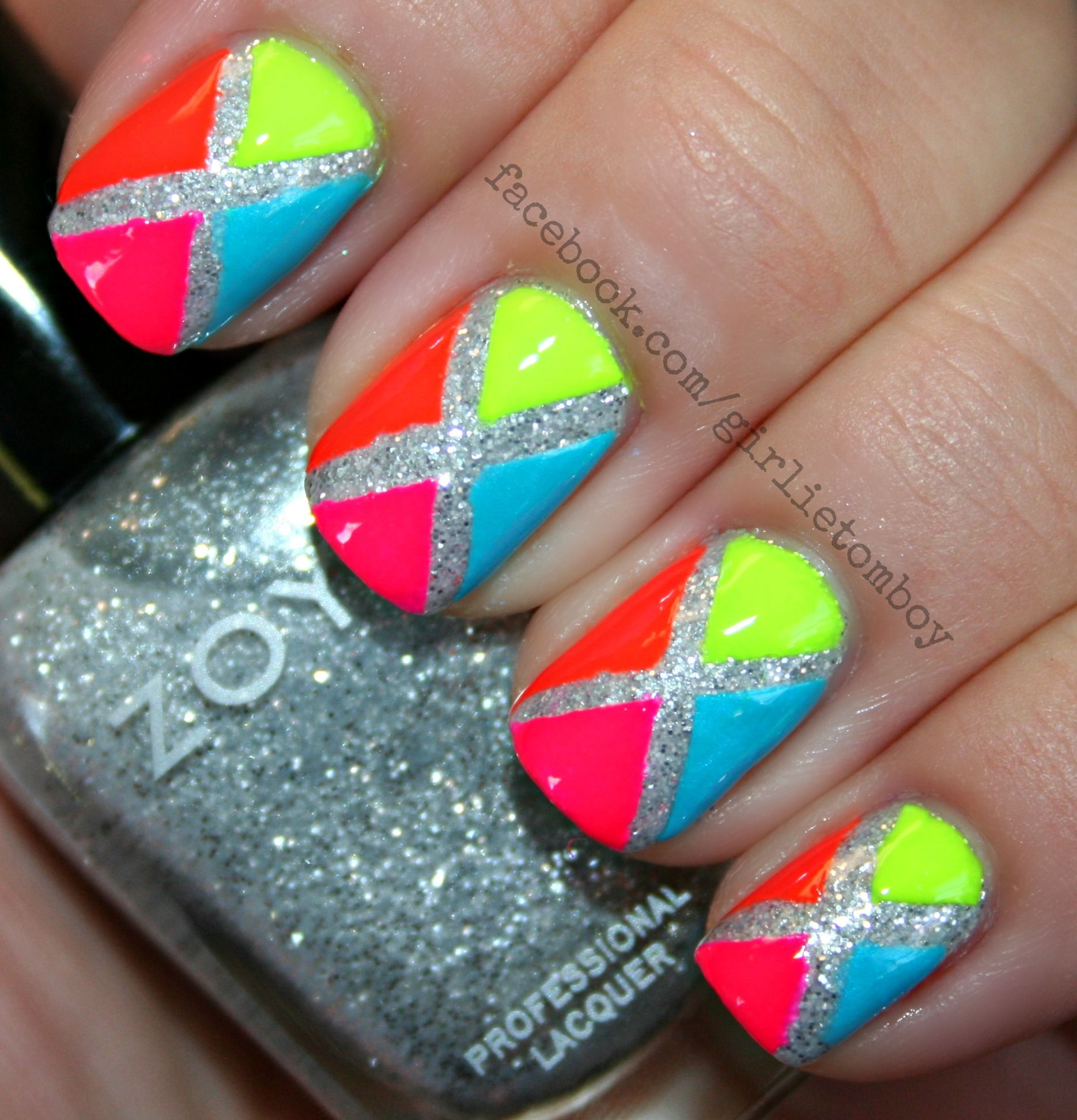 Neon color block tape mani! | Nails | Pinterest | Neon colors, Neon ...