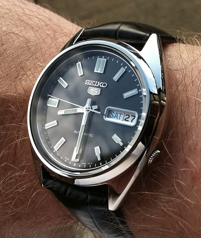 Seiko 5 Snk795 Or Snkl23 Automatic With Custom Black Strap Under