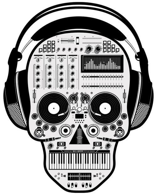 Illustration art music design Halloween skull DJ skeleton headphones sound mixer tony bamber