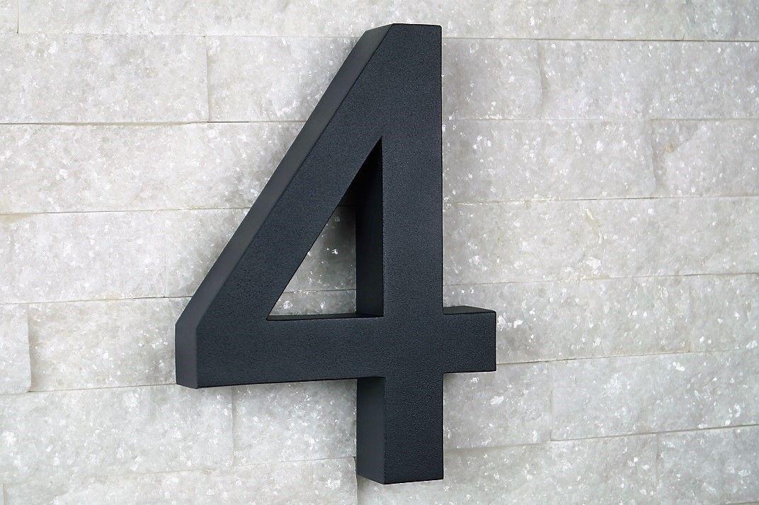 Hausnummer 9 Edelstahl V2A H20cm New-Design-2D anthrazit RAL7016  0 1 2 3 4 5
