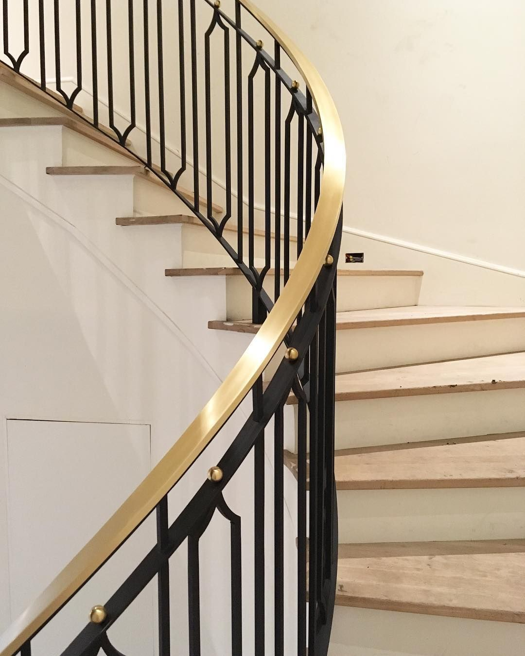 Design By Jenkins Interiors Curved Brass And Iron Handrail   Unique Handrails For Stairs   Residential Staircase   Hand Rail   Simple   Inside   Interior