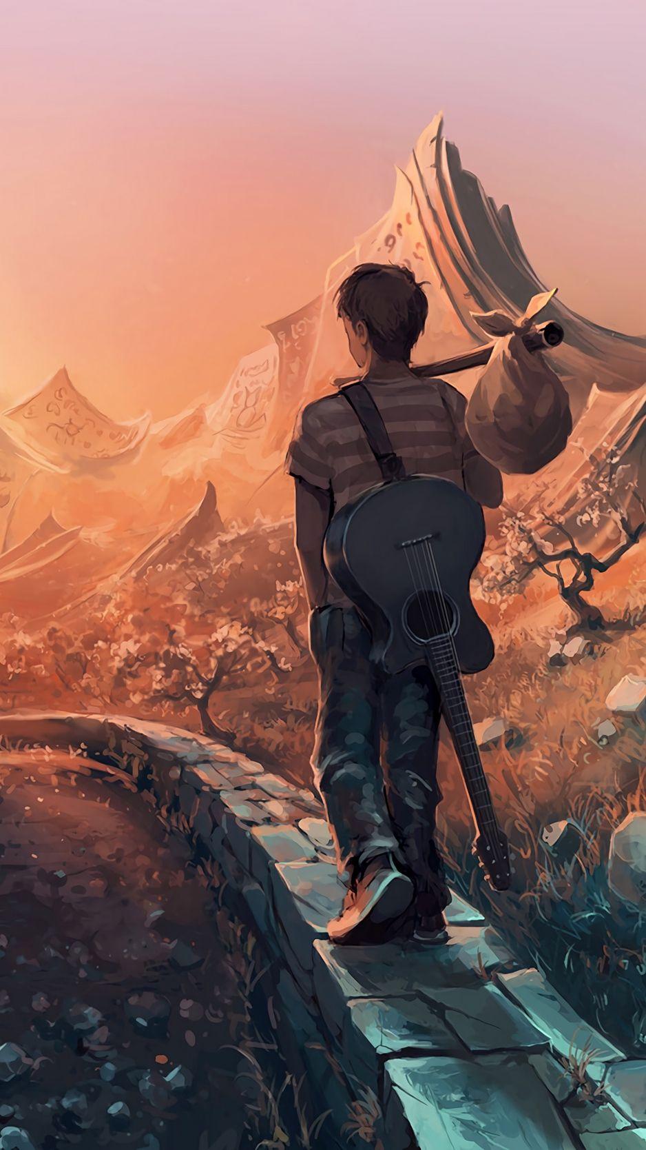 Man Art Guitar Traveling Wallpaper Anime Scenery Wallpaper Lonely Art Alone Art Anime boy with guitar wallpaper