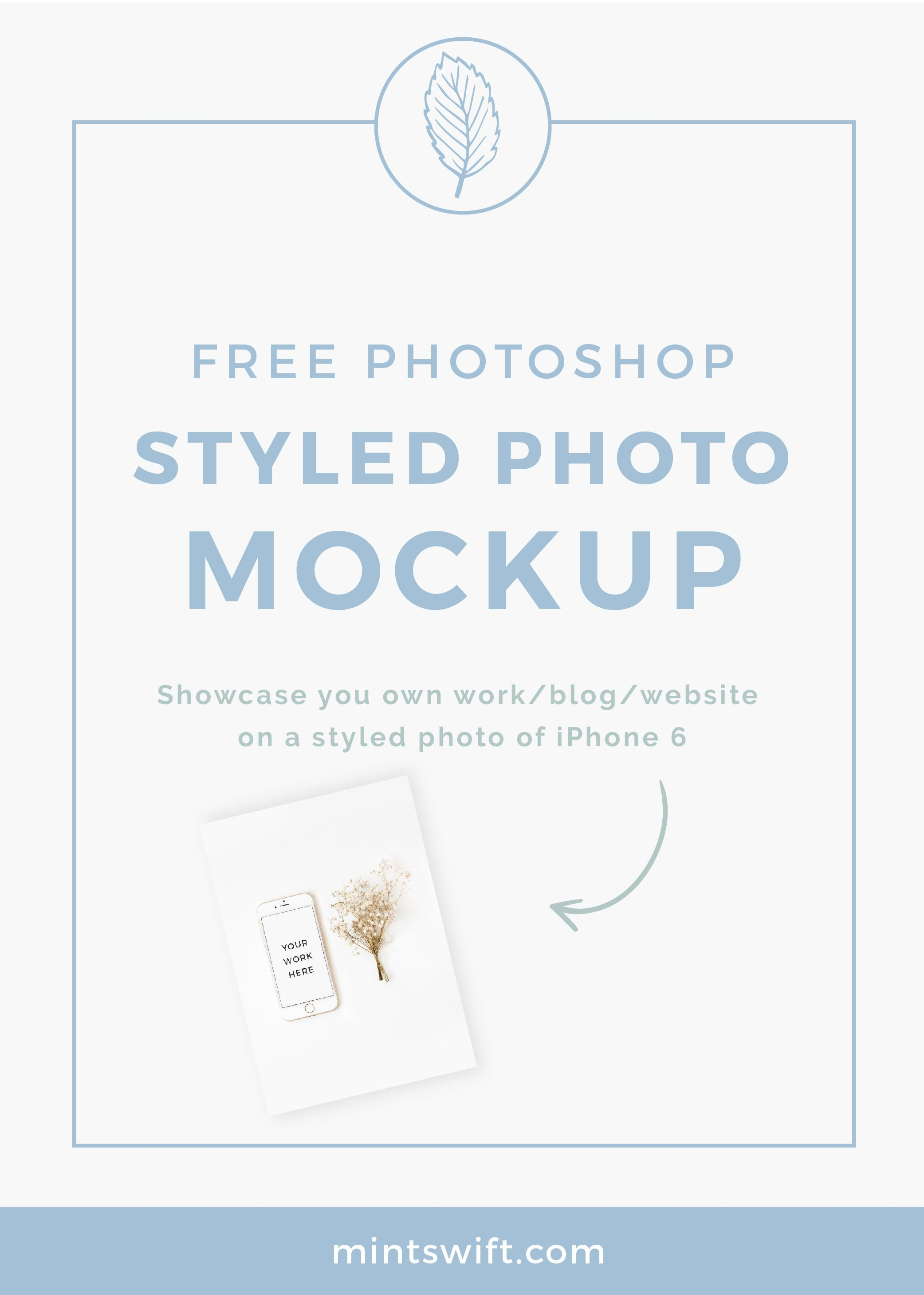 FREE styled stock photo mockup of an iPhone 6s and flower. What is a mockup? Is's a realistic representation of what the product will look like, so for example, if you're a blogger or business owner, you can put a screenshot of your website or latest blog post on the iPhone screen. Detailed instruction included