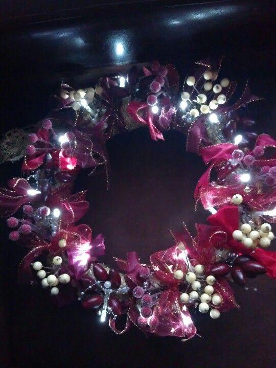 Kerstkrans met lichtjes